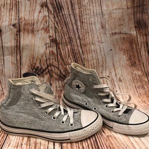 Converse Grey Silver High Tops Size US 6